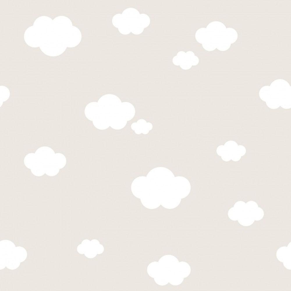 Kindertapete \'Wolken\' beige / weiß Raschtextil